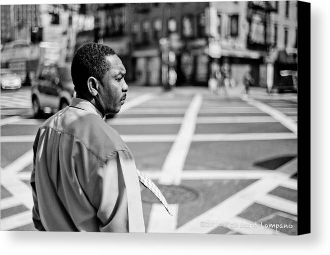 People Canvas Print featuring the glass art Don't Walk. by Reinhard Lampano
