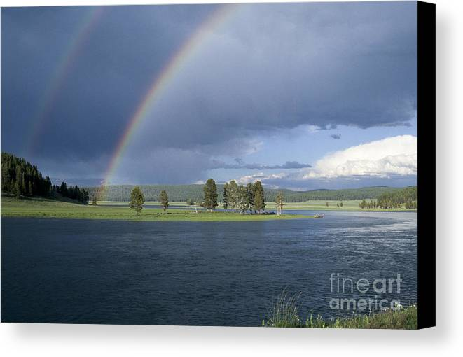 Yellowstone Canvas Print featuring the photograph Double Rainbow At Alum Creek by Sandra Bronstein
