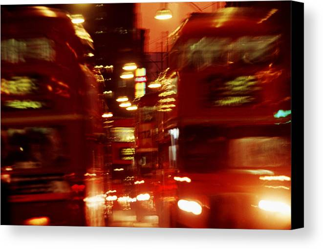 Bus Canvas Print featuring the photograph Doubledecker Bus Blur London by Brad Rickerby