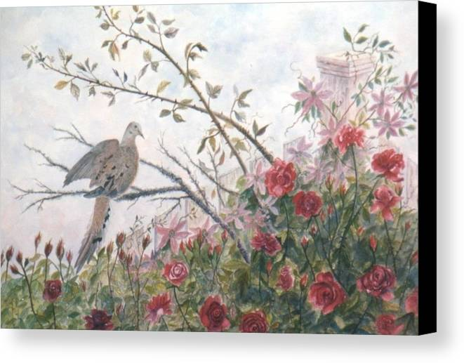 Dove; Roses Canvas Print featuring the painting Dove And Roses by Ben Kiger