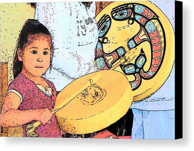 Quileute Canvas Print featuring the photograph Drummer Girl by Mark Cheney