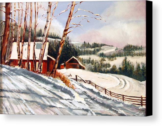 Snow Canvas Print featuring the painting Elephant Mountain Ranch by Susan Moore