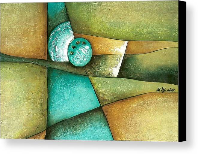Contemporary Abstract Canvas Print featuring the painting Esmeralda by Marta Giraldo
