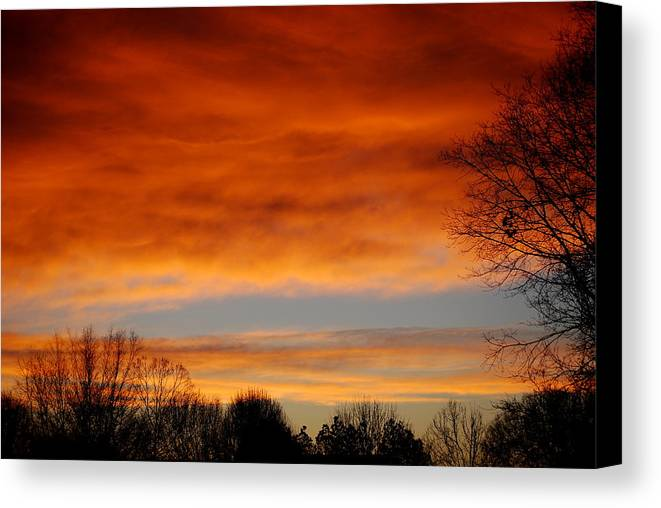 Sunrise Canvas Print featuring the photograph Fire In The Sky by Trudi Southerland