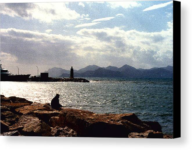 Fisherman Canvas Print featuring the photograph Fisherman In Nice France by Nancy Mueller