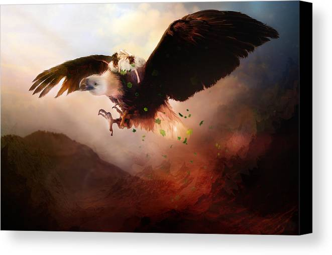 Children Canvas Print featuring the digital art Flight Of The Eagle by Mary Hood