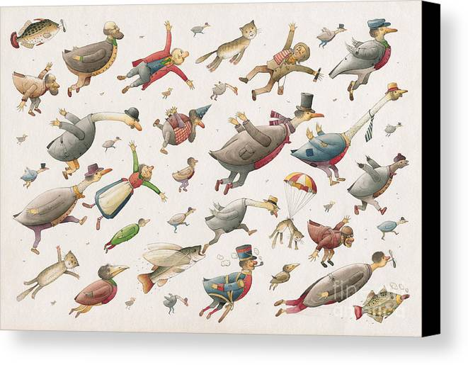 Sky Birds Flying Airplane Canvas Print featuring the painting Flying by Kestutis Kasparavicius