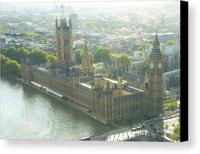 Parliament Canvas Print featuring the photograph Foggy Day In London Town by Charles Ridgway