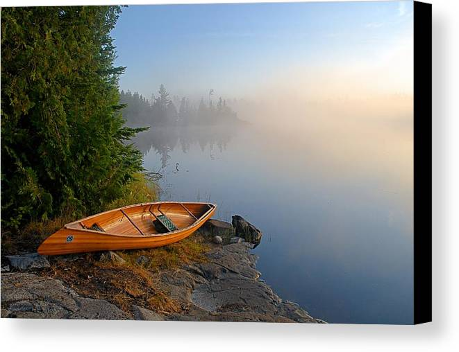 Boundary Waters Canoe Area Wilderness Canvas Print featuring the photograph Foggy Morning On Spice Lake by Larry Ricker