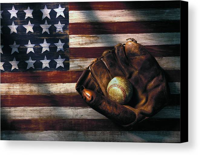Folk Art American Flag Canvas Print featuring the photograph Folk Art American Flag And Baseball Mitt by Garry Gay