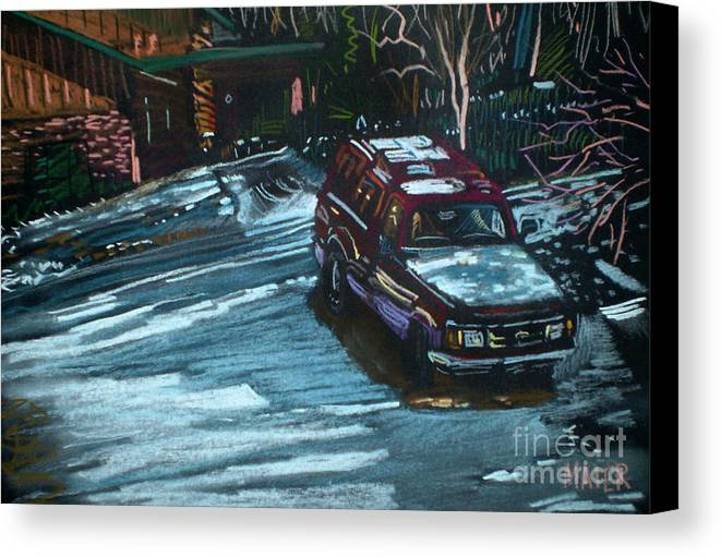 Ford Ranger Canvas Print featuring the drawing Ford Range In The Snow by Donald Maier