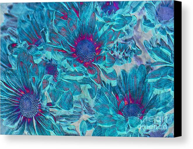 Daisies Canvas Print featuring the digital art Foulee De Petales - A01t by Variance Collections
