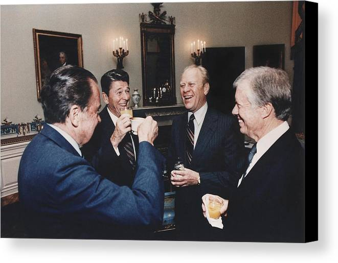 History Canvas Print featuring the photograph Four Presidents Nixon Reagan Ford by Everett