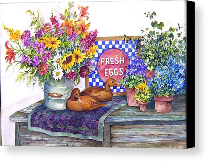 Watercolor;ducks;decoys;floral;mixed Bouquet;potted Plants;checkerboard;quilt; Canvas Print featuring the painting Fresh Eggs by Lois Mountz