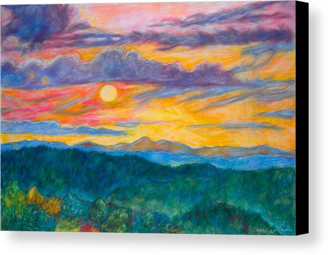 Landscape Canvas Print featuring the painting Golden Blue Ridge Sunset by Kendall Kessler