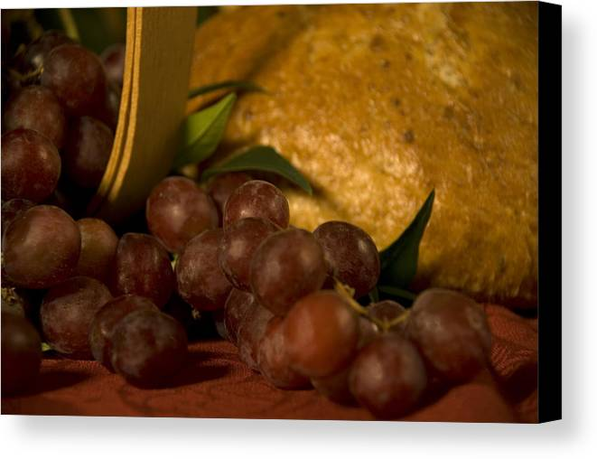 Fruit Canvas Print featuring the photograph Grapes And Bread by Jessica Wakefield