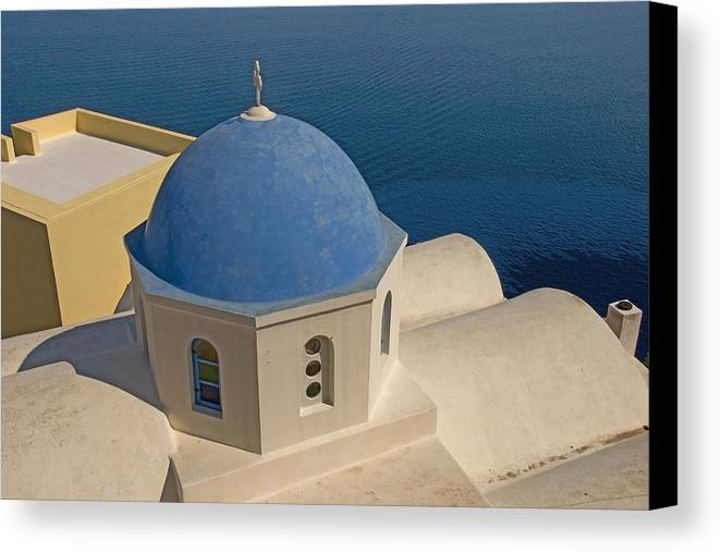 Greek Island Canvas Print featuring the photograph Greek Island Dome by Charles Ridgway