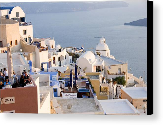 Greek Island Canvas Print featuring the photograph Greek Island Volcanic Town by Charles Ridgway