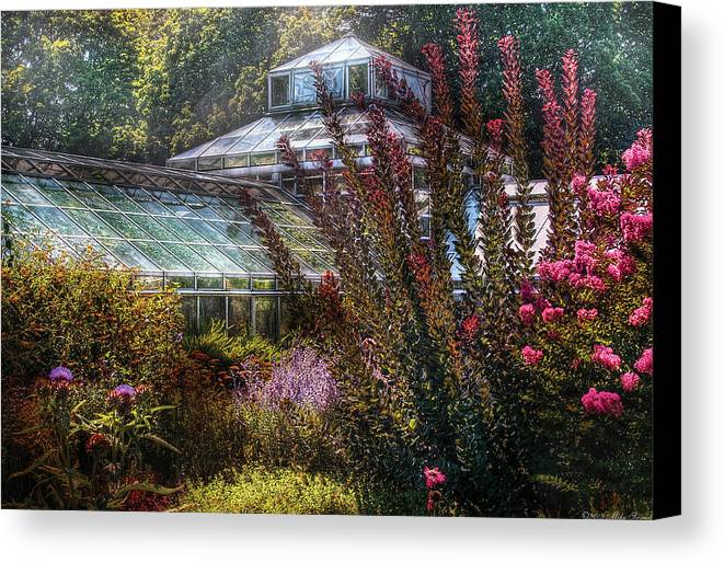 Savad Canvas Print featuring the photograph Greenhouse - The Greenhouse by Mike Savad