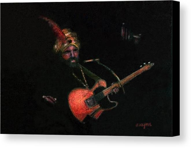 Guitar Canvas Print featuring the pastel Halloween Gig by Arline Wagner