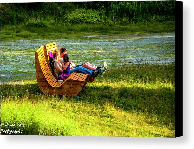 Switzerland Canvas Print featuring the photograph Young Family Enjoying The Swiss Country Side by Jason Yoon