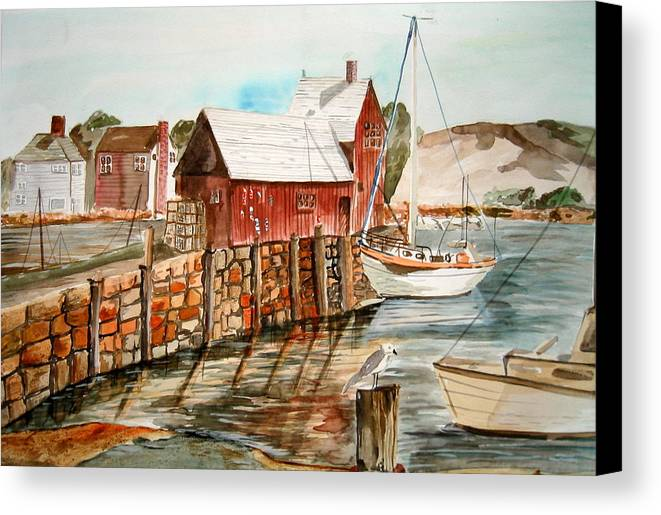 Original Art Canvas Print featuring the painting Harbor Scene New England by K Hoover