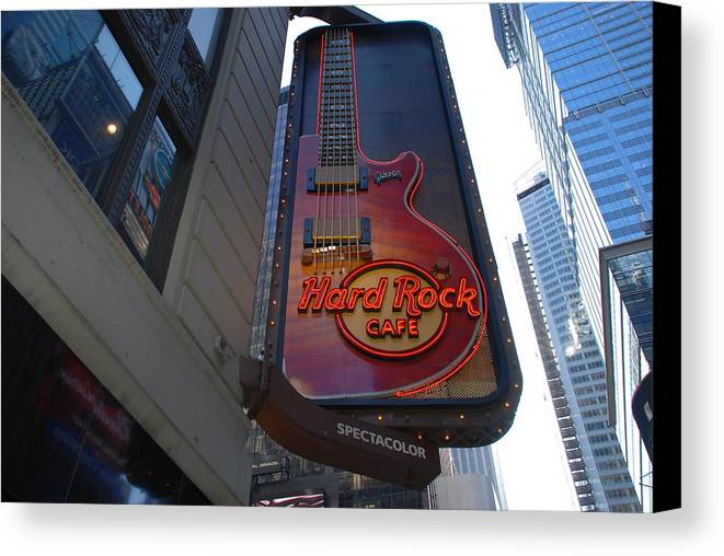 Music Canvas Print featuring the photograph Hard Rock Cafe N Y C by Rob Hans