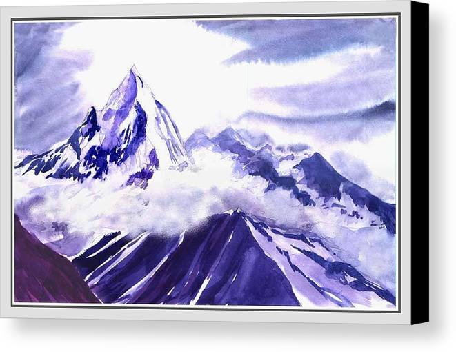 Landscape Canvas Print featuring the painting Himalaya by Anil Nene