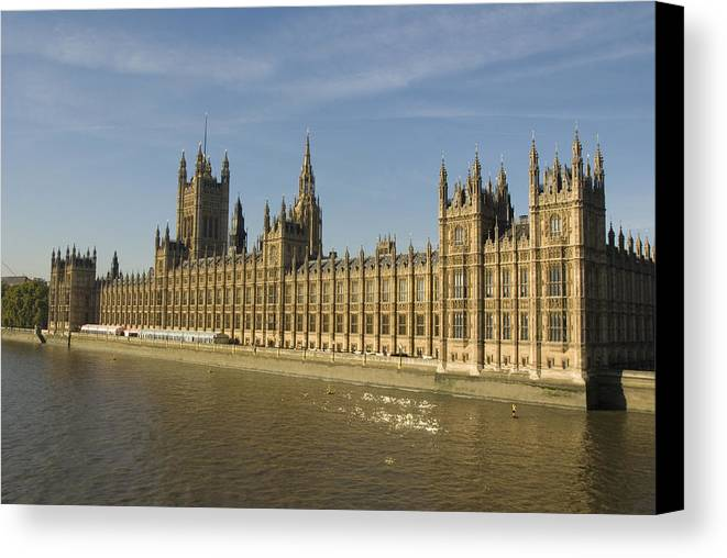 Parliament Canvas Print featuring the photograph Houses Of Parliament On A Rare Day by Charles Ridgway