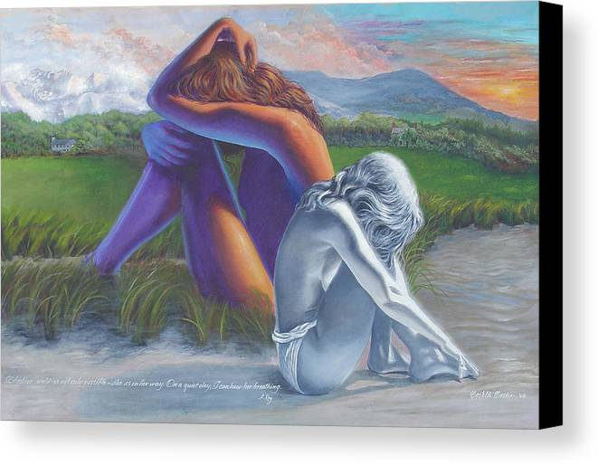 Figure Canvas Print featuring the painting I Can Hear Her Breathing by JoAnne Castelli-Castor