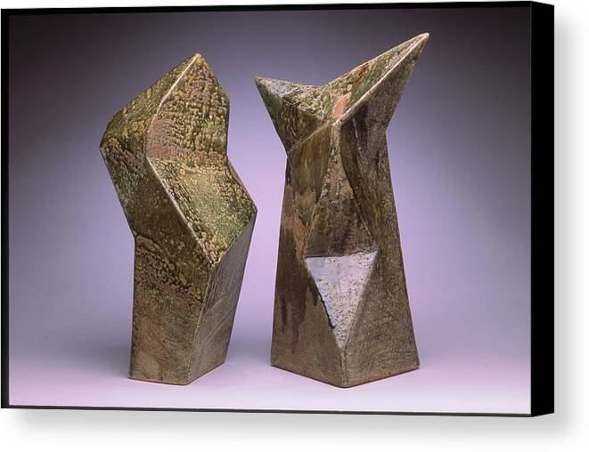Slab Built Cone 6 Stoneware Canvas Print featuring the sculpture Interrelated Forms by Stephen Hawks
