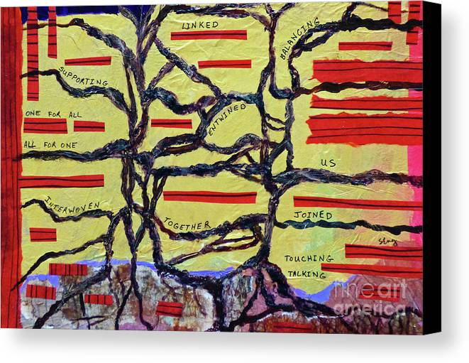 Abstract Canvas Print featuring the painting Interwoven by Sharon Eng