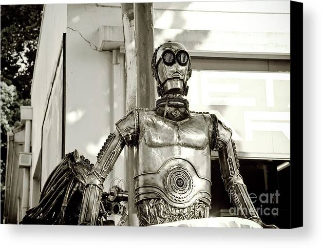 Alien Canvas Print featuring the sculpture Iron Man by Yurix Sardinelly