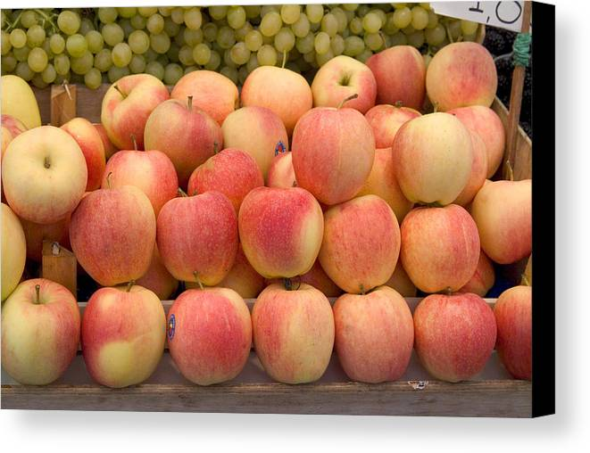 Apples Canvas Print featuring the photograph Italian Fruit Display by Charles Ridgway