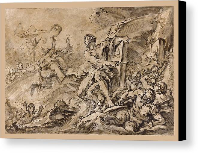 Francois Boucher Canvas Print featuring the drawing Juno Asking Aeolus To Release The Winds by Francois Boucher