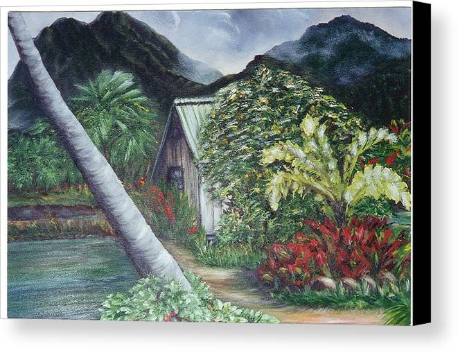 Landscape Canvas Print featuring the painting Kanaka House by Laura Johnson