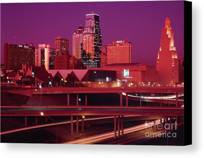 Kansas City Skyline 1991 Canvas Print featuring the photograph Kansas City Skyline 1991 by Gary Gingrich Galleries