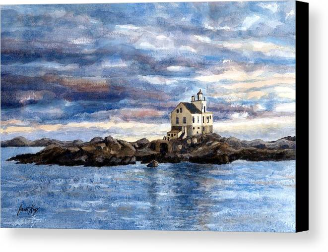 Katland Lighthouse Canvas Print featuring the painting Katland Lighthouse by Janet King
