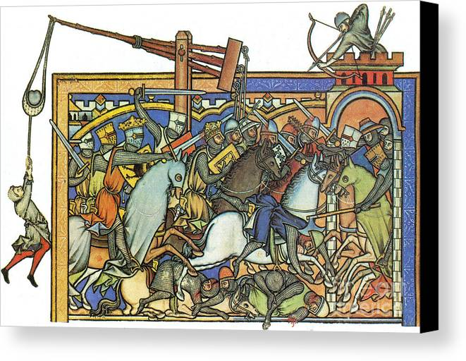 Weapon Canvas Print featuring the photograph Knights Templar 13th Century by Photo Researchers