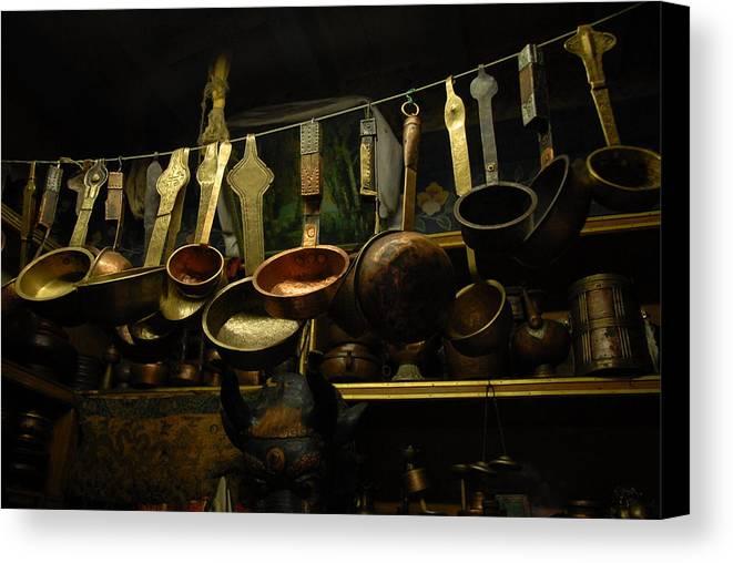 Tibet Canvas Print featuring the photograph Ladles Of Tibet by Donna Caplinger