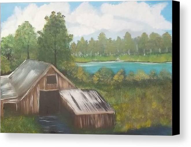 Landscape Canvas Print featuring the painting Landscape, March 2016 by Denise Mauldin
