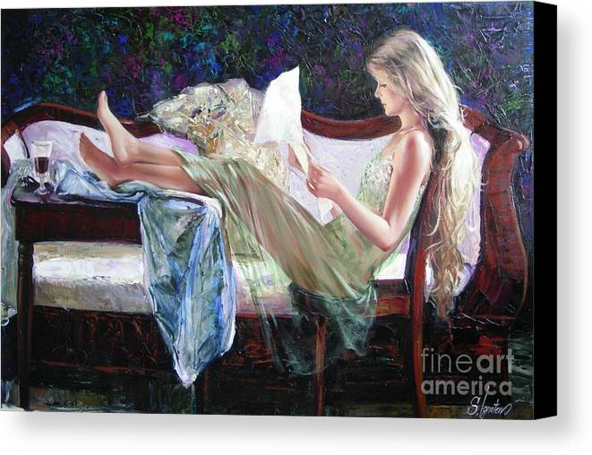 Figurative Canvas Print featuring the painting Letter From Him by Sergey Ignatenko