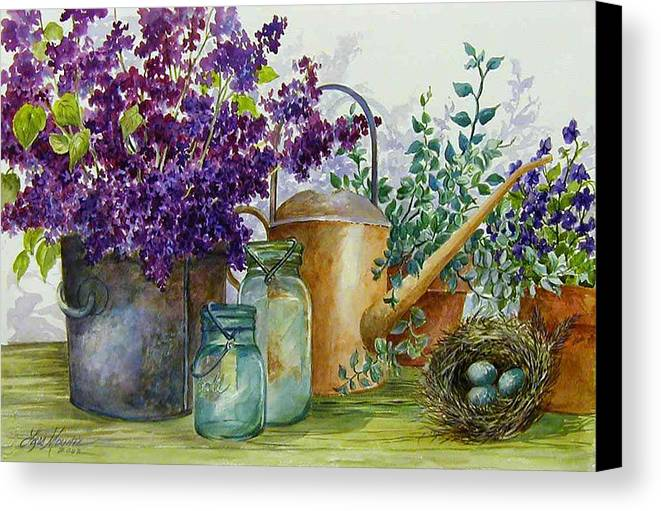 Still Life;lilacs; Ball Jars; Watering Can;bird Nest; Bird Eggs; Canvas Print featuring the painting Lilacs And Ball Jars by Lois Mountz