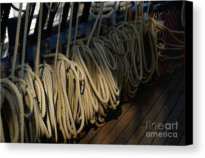 Maritime Canvas Print featuring the photograph Lines by Linda Shafer