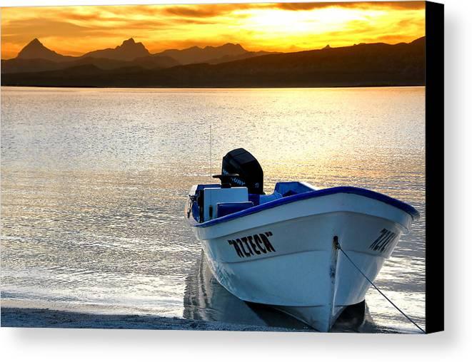 Baja California Canvas Print featuring the photograph Loreto Panga At Sunset by Scott Massey