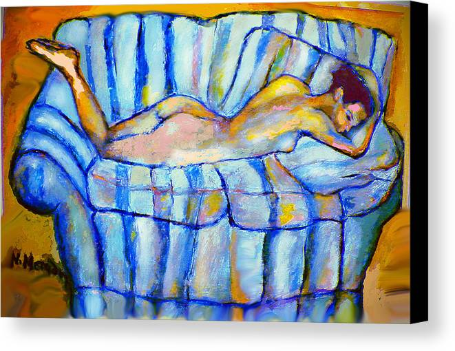 Nude Canvas Print featuring the painting Love Seat by Noredin Morgan