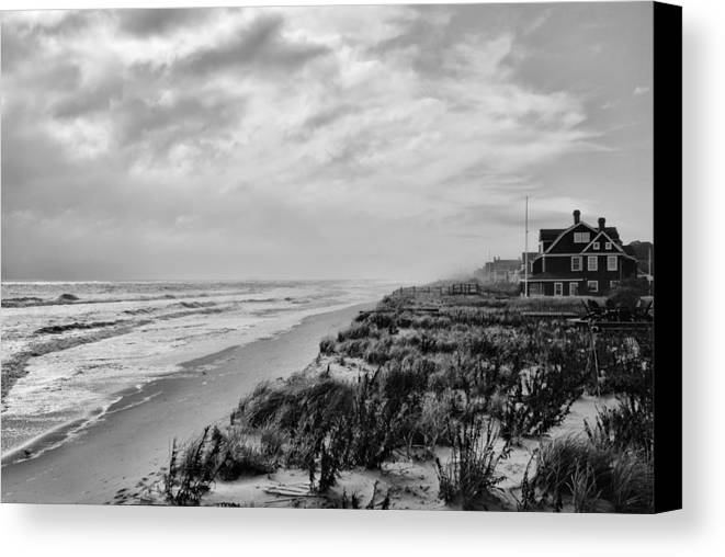 Jersey shore canvas print featuring the photograph mantoloking beach jersey shore by angie tirado