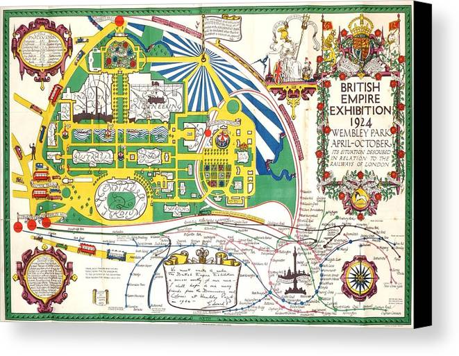British Canvas Print featuring the photograph Map British Empire Exhibition Wembley Park London 1924 by Nigel Radcliffe