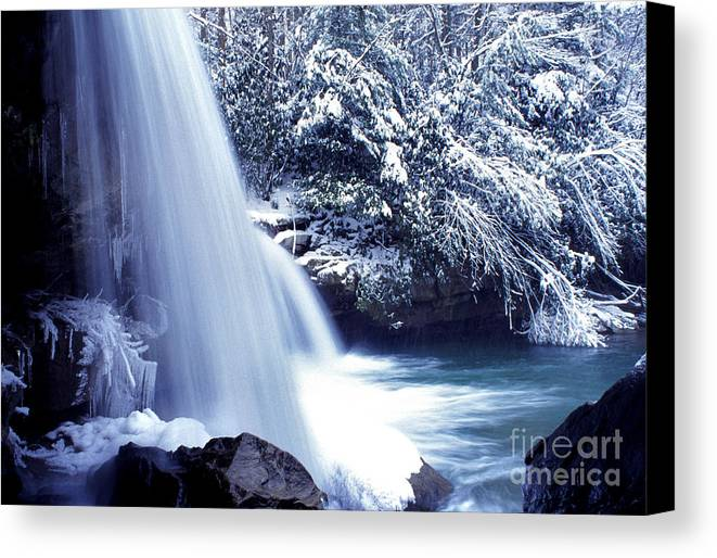 Mccoy Falls Canvas Print featuring the photograph Mccoy Falls In January by Thomas R Fletcher
