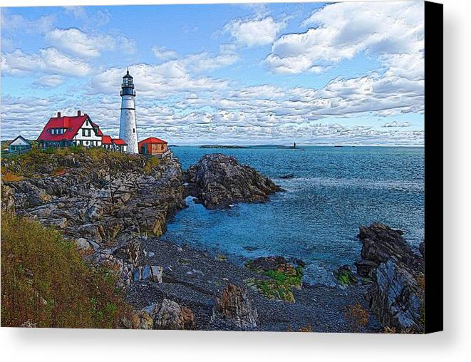 Lighthouse Canvas Print featuring the photograph Midday - Portland Head Light by Robert Boyette